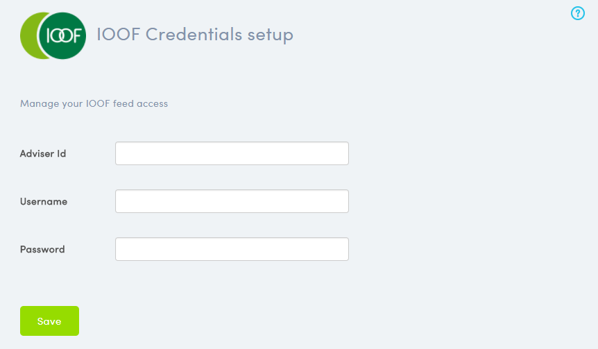 IOOF Credentials Setup Page